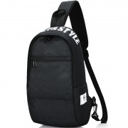 Men Chest Bag Oxford Shoulder Strap Bag Casual Sports Backpack Messenger Bag - Horizontal Zipper / Black