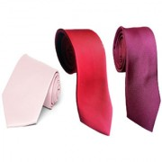 Wholesome Deal Red Maroon And Pink Colour Microfiber Narrow Tie (Pack of Three)