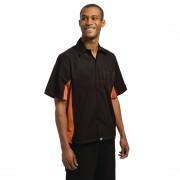 Chef Works Unisex Contrast Shirt Black and Orange S Size: S