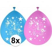 Folat 8x Latex eenhoorn dieren ballonnetjes 30 cm feestartikelen