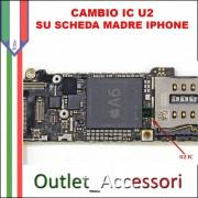 Cambio Sostituzione Chip IC Carica Apple Iphone 5S U2 1610A1 Tristar intervento su scheda madre