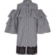 River Island Girls Navy stripe frill sleeve shirt dress