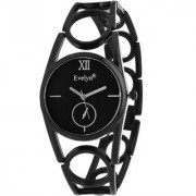 Evelyn Round Dial Black Stainless Steel Analog Watch For Women