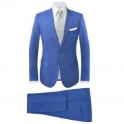 vidaXL Мъжки костюм в две части, кралско син, размер 52