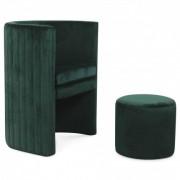 Fauteuil et pouf intégré en velours vert menthe Raphael