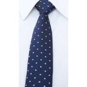 Sötétkék nyakkendő fehér pöttyökkel és cipzárral