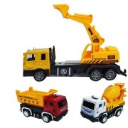 Emob Battery Operated Excavator Truck with 2 Mini Pull Back Vehicle Construction Trucks (Multicolor)