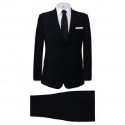 vidaXL Мъжки костюм, черен, 2 броя, размер 52