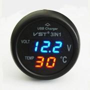 3V1 Voltmeter teplomer s USB ( modro - červený )