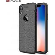 Hoesje voor Apple iPhone XR, gel case leder look, zwart