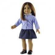 Tradico® Blue Plaid Shirt Skirt for 18'' American Girl/Our Generation/Journey Dolls