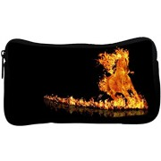 Snoogg Fire Horse Poly Canvas Student Pen Pencil Case Coin Purse Utility Pouch Cosmetic Makeup Bag