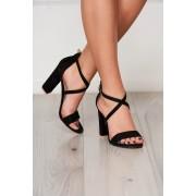 Sandale negre din piele ecologica cu aspect de piele intoarsa cu barete subtiri