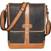 Kan Men & Women Casual Black Genuine Leather Sling Bag