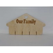 Simple wooden wall key hanger laser-cut and engraved.