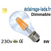 Ampoule led E27 dimmable 8w COB Filament blanc chaud 2700K 230v AC ref e280-1
