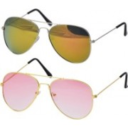 Freny Exim Aviator Sunglasses(Pink, Yellow)