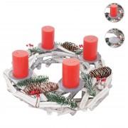 Adventskranz rund, Weihnachtsdeko Tischkranz, Holz Ø 40cm weiß-grau ~ Variantenangebot