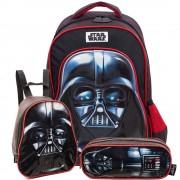 Star Wars Kit Darth Vader 19P - Mochila, Lancheira e estojo PRETO/U
