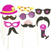 AsianHobbyCrafts Party Props : 10 pcs : for Photo Booths, Party Décor, Theme Parties (Whiskers & Glasses)