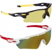 Zyaden Sports Sunglasses(Yellow, Multicolor)