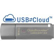 Stick USB 64GB KINGSTON DataTraveler Locker+ G3 USB 3.0, criptare hardware