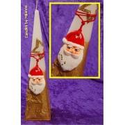 kaarsen: Kerstmanpiramide, GOUD/WIT, H: 30 cm - Kerst