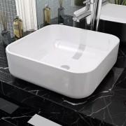 vidaXL Štvorcové keramické umývadlo, biele, 38x38x13,5 cm