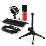 Auna MIC-900RD USB set de micrófonos V1 micrófono condensadorrojo soporte de mesa
