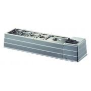 Espositore vetrina refrigerata da tavolo TCN Temperatura +2°/+10°C Capacità vaschette GN vari formati Potenza kW 0,13 Dimensioni cm. L 127 x P 33 x h 23 Modello MACRO