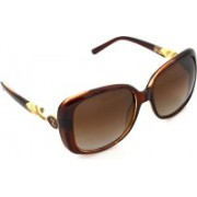 Hrinkar Polarized Rectangular Sunglasses(Brown)