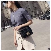 Pure kleur mode PU lederen Lock schoudertas Messenger Bag dames handtas (zwart)
