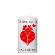 Valentijn kaars 80x150 - Ik hou van je (met naam)
