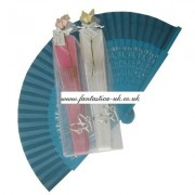 Decorated Wedding Fans - Assorted Bright Colours (Carved / Organza Bag Silver Rings)