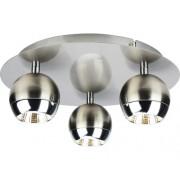 Plafoniera cu LED integrat Lukida 3x4W 1050 lumeni, nichel/aluminiu