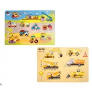WELLSKEY Set of 2 Wooden Peg Puzzles (Transport & Cars)