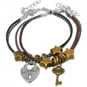 Sullery Key Charm And Lock Charm Couple Multicolour Leather Metal Bracelet For Men And Women
