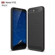 Huawei Honor V10 / View 10 karbon mintás tok - FEKETE