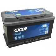 80Ah EXIDE Excell EB802 autó akkumulátor jobb+