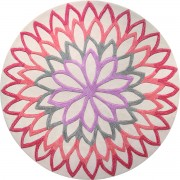 Covor Modern & Geometric Lotus Flower, Acril, Rotund, Rosu, 200x200