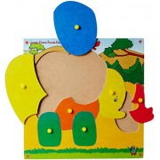 Skillofun Wooden Jumbo Theme Puzzle Elephant Knobs, Multi Color