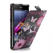 Sony Xperia Z1 Compact Black Butterfly Flip Калъф + Протектор