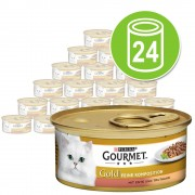24 x 85 g Gourmet Gold Doble Placer - Pack mixto: buey y pollo / pato y pavo