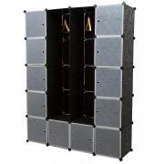Гардероб - Направи си сам [neu.haus]®, 12 отделения, 180 x 145 cm Черен