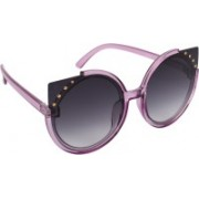 Aislin Cat-eye, Round Sunglasses(Grey, Violet)
