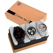 GenZ GENZ-CO3-SSCD05-SSCD06-CD06-0001 Combo of 3 Stainless steel stylish Gifting Analog watch for Men