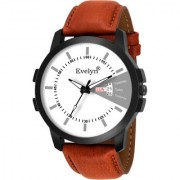 Evelyn Casual White Dial Brown Leather Strap Analog Wrist Watch for Mens Boys Eve-758