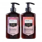 Arganicare Kit Shampooing & Après-shampooing à la Protéine de Soie cheveux secs et ternes - 2x400 ml