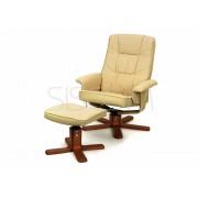 Fotel z masażem + puff z masażem beżowy