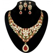 Kriaa by JewelMaze Zinc Alloy Gold Plated Maroon And Green Austrian Stone Kundan Necklace Set With Maang tikka-AAA0586